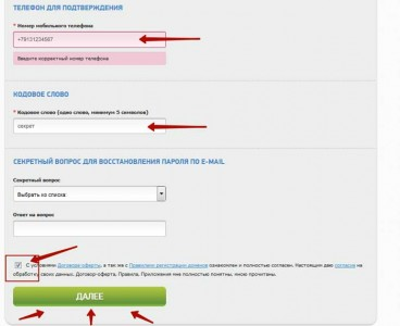 Форма регистрации 2domens