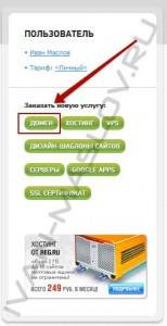 Нажимаем на зеленую кнопку домен