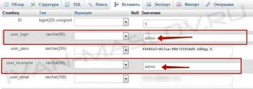 Меняем имя пользователя в базе данных WordPress